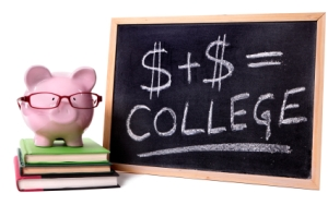 Pink piggy bank with glasses standing on books next to a blackboard with simple college savings or fees formula.