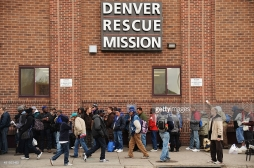 DENVER APRIL 01: Homeless people line to get in for the night at Denver Rescue Mission. Denver, Colorado. April 01. 2014. (Photo by Hyoung Chang/The Denver Post)